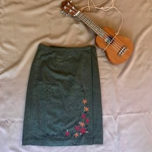 Ann Taylor Embroidered Green Wool Wrap Skirt